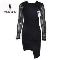 Ücretsiz Kargo Missord 2016 Seksi uzun kollu yuvarlak boyun boş iplik düzensiz bölünmüş elbise FT2825-1