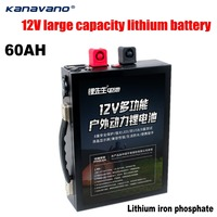 Kanavano 12v 60Ah LiFePo4 battery Portable outdoor emergency power supply with dual USB port car cigarette lighter +5A charger