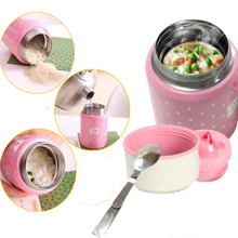 ФОТО 350ML Soup Thermos Inox Spoon Termos Food Container Colorful Mug Child Lunch Termo  Huality Caneca Travel Garrafa Termica
