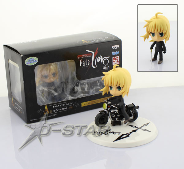 """Free Shipping Cute 3"""" Fate Style Night Anime Fate Zero Saber with Motorcycle Boxed PVC Action Figure Collection Model Toy Gift"""
