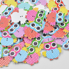 JUNAO Mixed Color Large Owl Wooden Buttons 2 Holes Sewing Buttons Children Crafts Scrapbooking Home Decorations 20pc(China)
