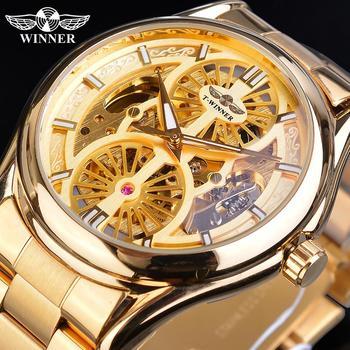 цена Winner Relogio Masculino Wrist Watch Golden New Men Automatic Hollow Transparent Mechanical Male Steel Band Watches Casual Clock онлайн в 2017 году