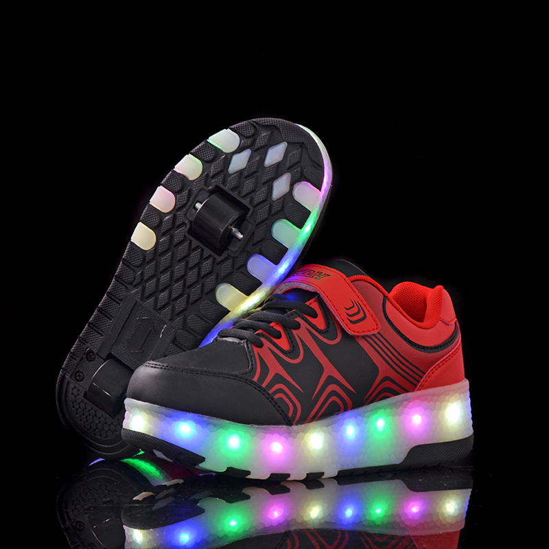 цена на Kids shoes children LED with Double TWO wheel boy Girl roller skate casual shoe Kids shoes boys shoes tenis infantil zapatillas