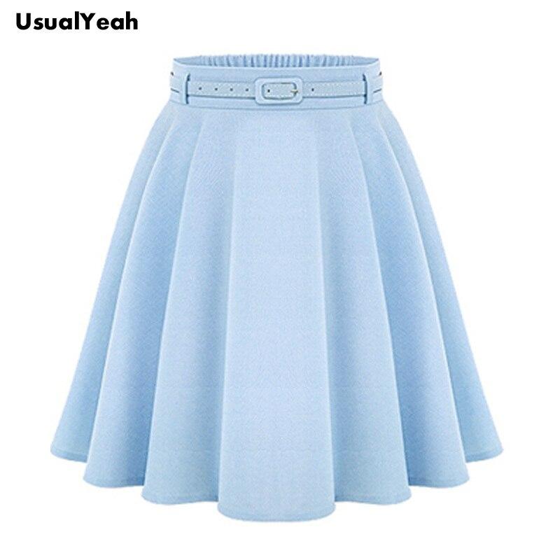1680305401ef 2017 A Line Flare Pleated Fashion Street Style Women Light blue ...