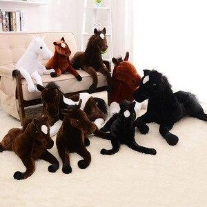 Image 4 - Tamanho grande simulação animal 70x40cm, cavalo, brinquedo de pelúcia, prata, cavalo, boneca para presente de aniversário