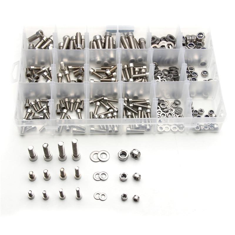 345PCS M5/M6/M8 Stainless Steel Cylinder Head Hexagon Screw Locknut Nut Bolt Washer Assortment Kit