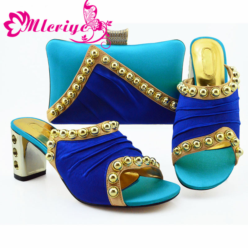 Blue Color New Design African Elegant Shoes And Bag To Match Set Italian Comfortable Heels Party Shoes And Bag Set For WeddingBlue Color New Design African Elegant Shoes And Bag To Match Set Italian Comfortable Heels Party Shoes And Bag Set For Wedding