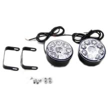 1 Pair/Set Car Universal Fog Lamp Round 9 LED Bulbs Day Light Modified Lamp Auto Accessories