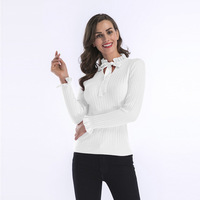Through 2018 Lotus Leaf Lead Sleeve Knitting Sweater Woman Autumn And Winter Rendering Sweater Woman
