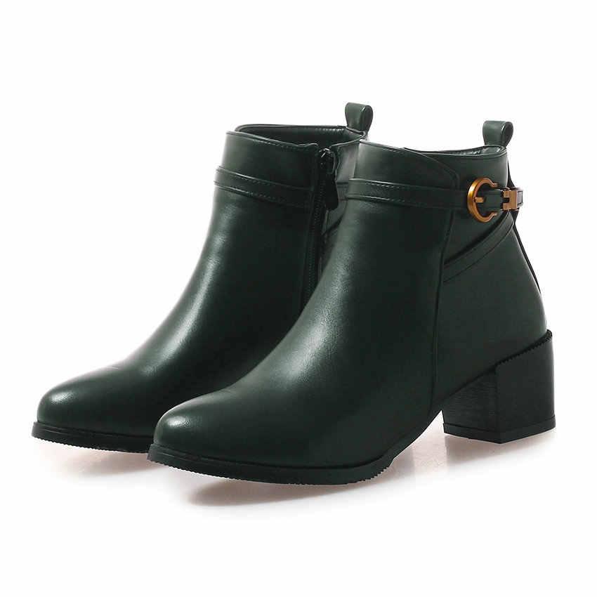 QUTAA 2019 Kadın Motosiklet Botları Moda Pu Deri Kare Yüksek Topuk Sivri burun Kış Ayakkabı Kadın Botları Büyük Boy 34 -43