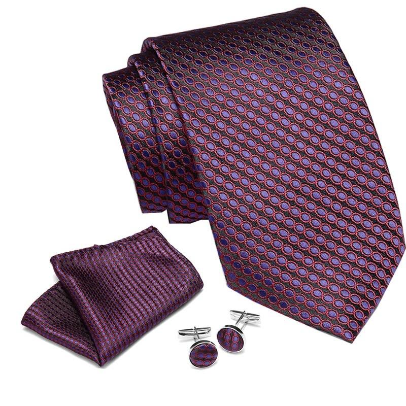 Men Gents Necktie Blue Stripe 100% Silk Jacquard Tie Hanky Cufflinks Set Business Wedding Party Ties For Men Wedding Gifts