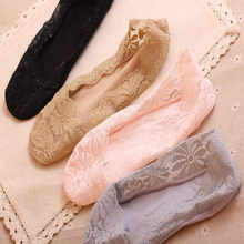 5 Pair Lace Sock Package Colors Female Women Invisible Ankle Slippers Shallow Mouth Thin Solid Mix-Color