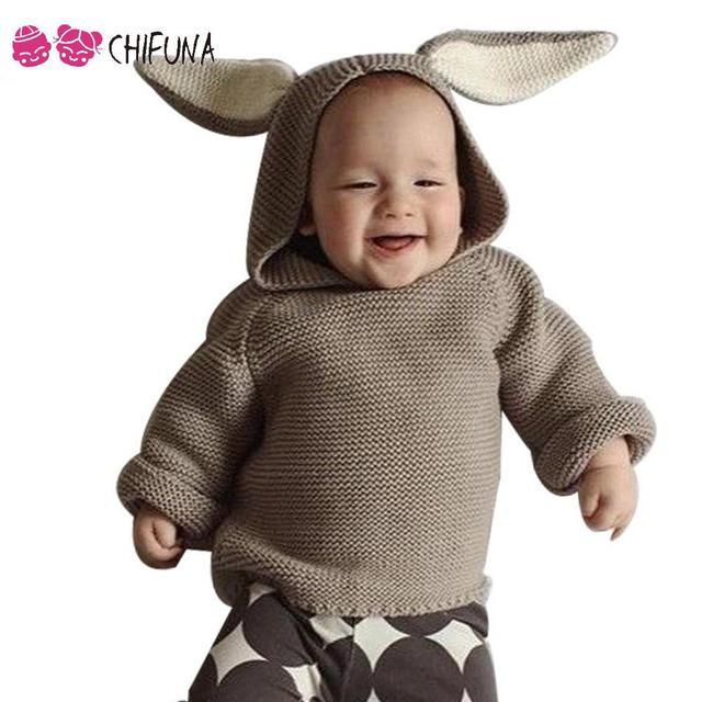 Новая Мода 2016 Весна Осень Детская Одежда Девушки Свитер С Капюшоном Пуловер Симпатичные Уши Кролика Свитер Девочка Свитера