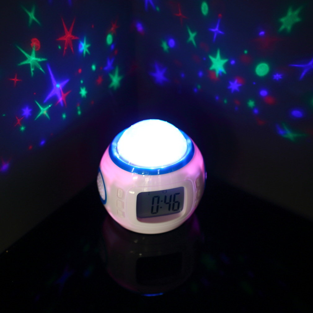 ICOCO Starry Star Sky Music Projector Digital LED Alarm Clock Calendar Thermometer Snooze Function Night Light Flash Deal Sale