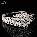 vintage luxury simulated pearl & Austrian crystal tiara for women 585 gold plated bridal crown wedding party hair jewelry HF026