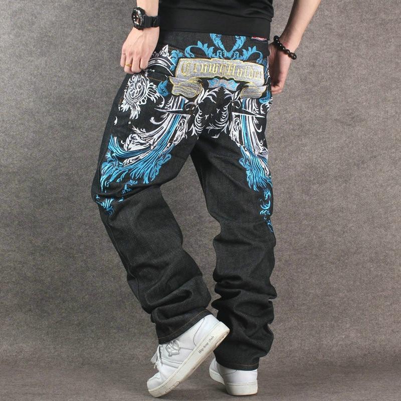 2017 New Designer Hip Hop Baggy Jeans Men Black Denim Pants With Embroidery Loose Fit Streetwear Famous Brand Plus Size 40 42 44 2016 lastest designer hip hop baggy jeans men black denim jeans pants loose fit streetwear famous brand plus size 30 to 44 46