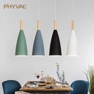 Image 2 - مصباح حديث بإضاءة معلّقة إسكندنافية لغرفة الطعام أو المطعم أو غرفة النوم مصباح معلق LED E27 مصباح LED ليلي من الألومنيوم
