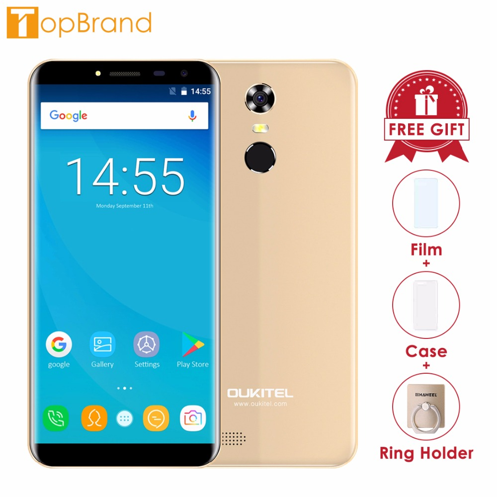 Oukitel C8 18:9 Aspect Ratio Mobile Phone 5.5HD Quad Core 1.3GHZ 2GB/16GB ROM 13MP Android 7.0 3000mAh Rear Touch ID Smartphone