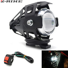 for Motorcycle LED Headlight 125W 3000LM U5 Waterproof Driving Spot Head Lamp Fog Light Switch Moto Accessories 12V