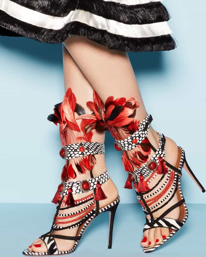 f547567ecb82 Detail Feedback Questions about Sestito 2018 Woman Sexy Red  Rhinestone Feather Decorated High Heels Dress Runway Shoes Ladies Peep Toe Mixed  Color Sandals ...