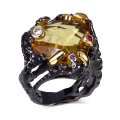 Big Stone Party Rings For Women  Gold &Black Plated Lead Free Made wiht Cubic Zirconia Free Allergy Fashion rings