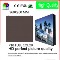 P10 outdoor RGB full Color led video wall size 960x960mm led large screen display sign background synchronization system