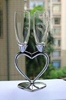 Livraison Gratuite Mode Argent Vin Rouge Tasse Ensemble/1 Paire coeur Forme Champagne En Verre de Haute Qualité Vin Tasse Belle De Mariage cadeau
