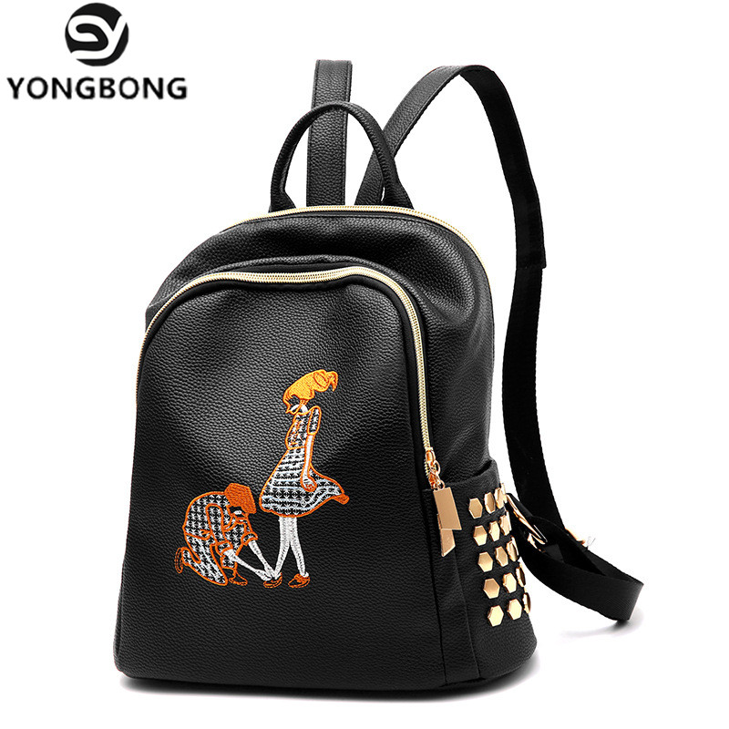 Yongbong Fashion Rivet Pu Leather Backpack Women Embroidery School Bag For Teenage Girls Brand Ladies Backpacks Black Sac A Dos