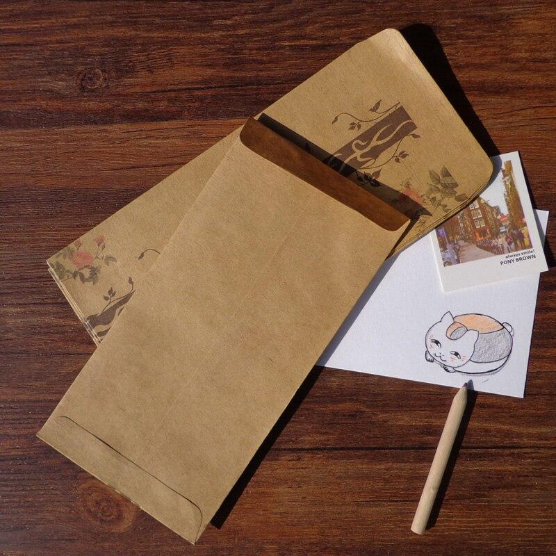 50pcs Retro Style Beautiful Romantic Floral Design Kraft Envelope