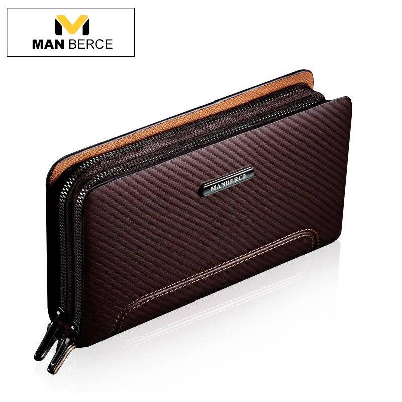 купить MANBERCE Men Clutch Bags Leather Wallet Man Cowhide Purse Business Casual Men's Handbags Brand Mens Wallet Free Shipping недорого