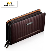 MANBERCE Men Clutch Bags Leather Wallet Man Cowhide Purse Business Casual Men's Handbags Brand Mens Wallet Free Shipping