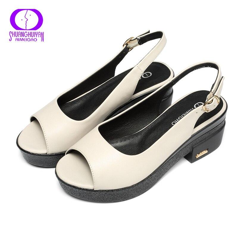 Dames Confortable Été À Bout Aimeigao Ouvert Femmes Nouvel Épais Plateformes Chaussures Beige Sandales Boucle Talons Talon 7UYSUqw
