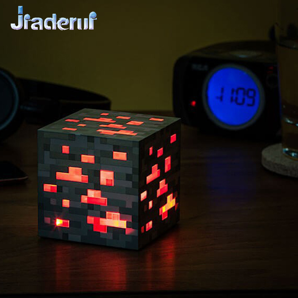 Jiaderui LED Minecraft Figure Toys Lights Minecraft Light Up Redstone Ore Square Minecraft Night Light Up Diamond for Kids Gift светильник think geek minecraft redstone ore n00313