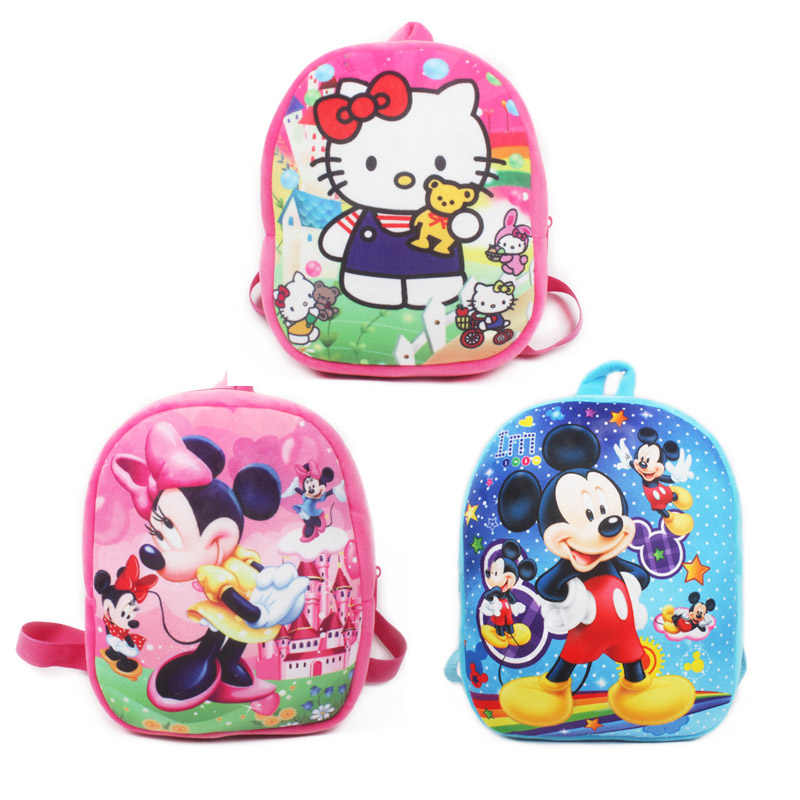 1pc 26cm New cute backpack for girls Cartoon Mickey Minnie mouse plush  backpacks for kids schoolbag f90c78f37d482