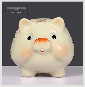 Tirelire cochon blanc face