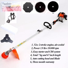 2 in 1 Heavy Duty 52cc Petrol Powered Strimmer, Grass Trimmer, Brush Cutter & 3 Blade factory selling