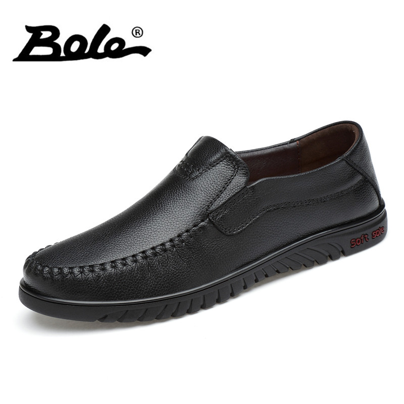 BOLE Slip on Genuine Leather Shoes Men Daily Casual Leather Shoes Spring Autumn Waterproof Flat Shoes Rubber Sole Shoes for Men heyiyi men s 3d print casual shoes white black full grain leather flat lace up spring autumn rubber sole shoes