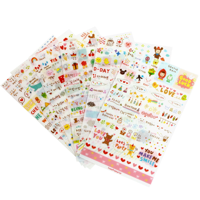 6 Sheet/set Stickers Cute Korea Pvc Transparent Flake Seal Cards For Scrapbooking Diy Diary Calendar Notebook Label Stationery spring and fall leaves shape pvc environmental stickers decorative diy scrapbooking keyboard personal diary stationery stickers