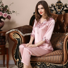 Top grade Spring new silk pajamas womens pyjama set sexy home clothes summer noble lace sleepwear pullover loungewear