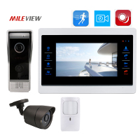 Free Shipping 800TVL HD 7 Screen Video Door Phone Record Intercom Kit IR Door Camera 3