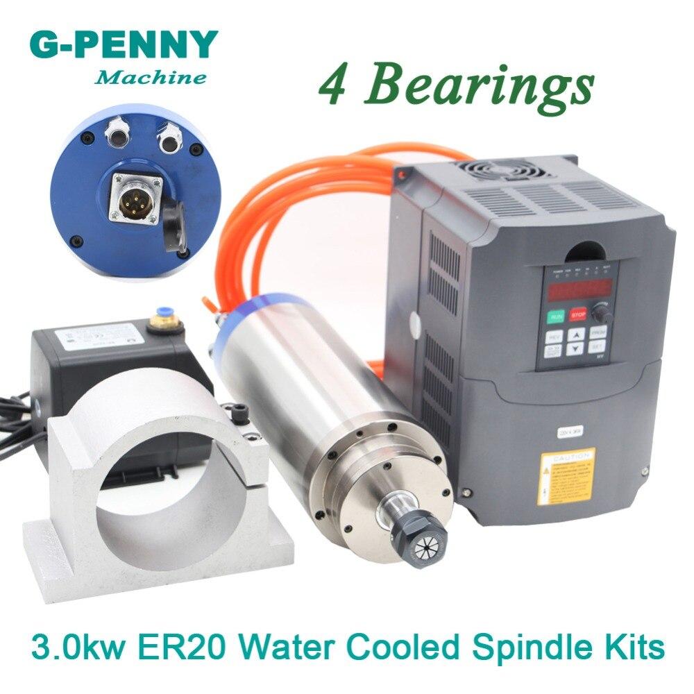 220 V 3.0 KW moteur de broche refroidi à l'eau ER20 et 4kw VFD pilote de fréquence Variable et 100mm support de pince de broche et pompe à eau 75 w