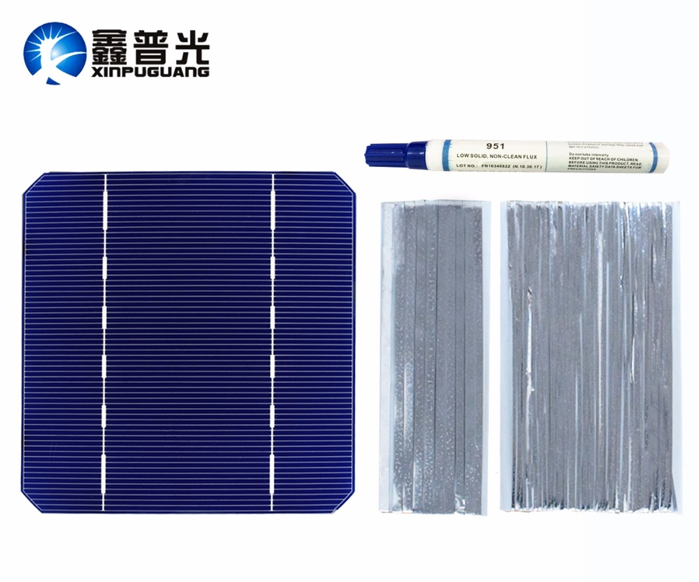 40 PCS 2.8W Solar cell 5X5 mono PV Photovoltaic 100W Solar Panel DIY kit 125*125MM monocrystalline Silicon wire strip flux pen