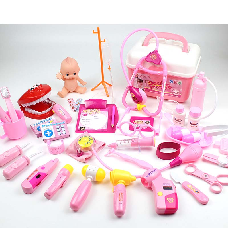 Kids Pretend Toys Doctor Play 40pcs/sets Simulation Medicine Box Doctor Toys Stethoscope Injections Children educational gifts 4 ...