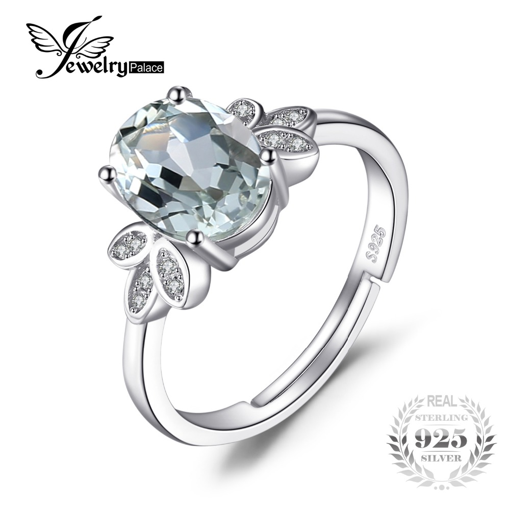 JewelryPalace Classic 1.8ct Natural Green Amethyst White Rock Quartz Solitaire Ring Solid 925 Sterling Silver Fashion Jewelry jewelrypalace trillion 1 1ct natural purple amethyst solitaire ring 100% 925 sterling silver women fashion jewelry big promotion