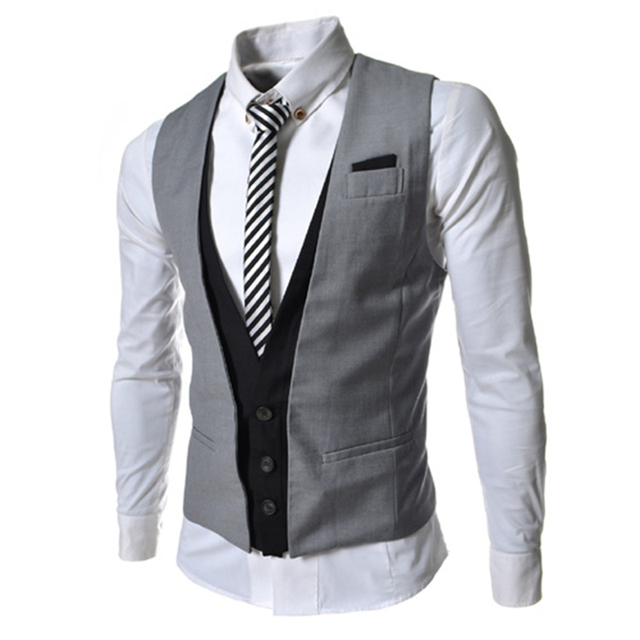 f84410849e0 Layered Vest Men Waistcoat Slim Fit Sleeveless Vest Male Brand Wedding  Groom Dress Business Pattern One Piece M66-in Vests from Men's Clothing &  ...