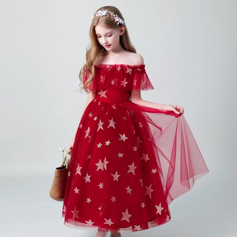 2019 Red Black Flower Girl Dresses For Weddings Ball Gown Tulle Ruffles Long First Communion Dresses For Little Girls