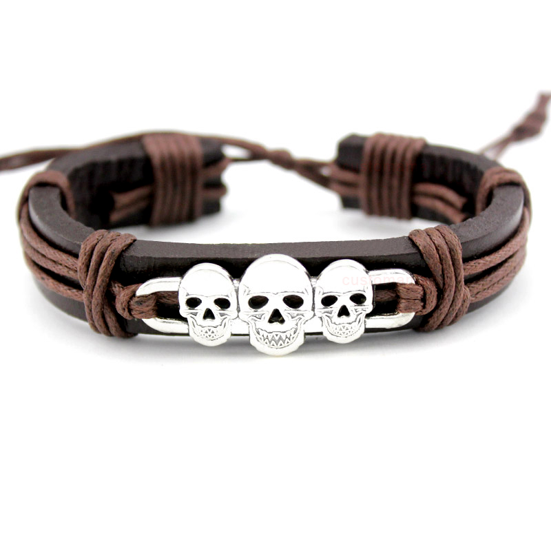 Skull Skeleton Mask Dogs Paw Fish Turtle Tortoise Scissors Crown Arrow Charm Wax Leather Bracelets Women Men Boy Girl Jewelry
