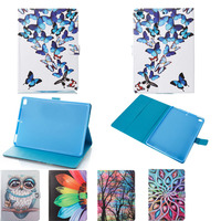 For New IPad 2017 A1822 A1823 Cartoon Owl Butterfly PU Leather Smart Cover Magnet Wake Up
