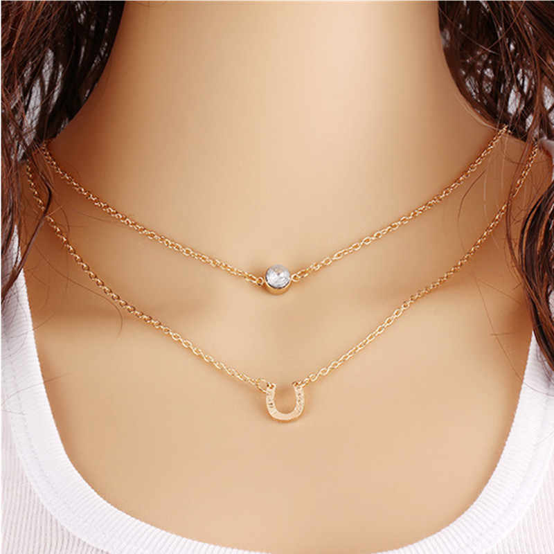 fashion lychee Horse Hoof Necklace  Crystal Lucky Horse Hoof Chain Collares Bohemian Multilayer Necklaces Summer