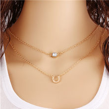 fashion lychee Horse Hoof Necklace Crystal Lucky Horse Hoof Chain Collares Bohemian Multilayer Necklaces Summer(China)